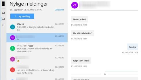 MELDINGER: Les og svar på tekstmeldinger i Din mobil-appen.
