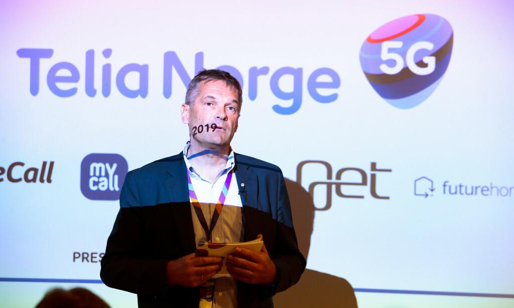 Administrerende direktør Abraham Foss i Telia Norge under en pressekonferanse om 5G-teknologi i Telias lokaler i Nydalen i Oslo tirsdag. Foto: Håkon Mosvold Larsen / NTB scanpix