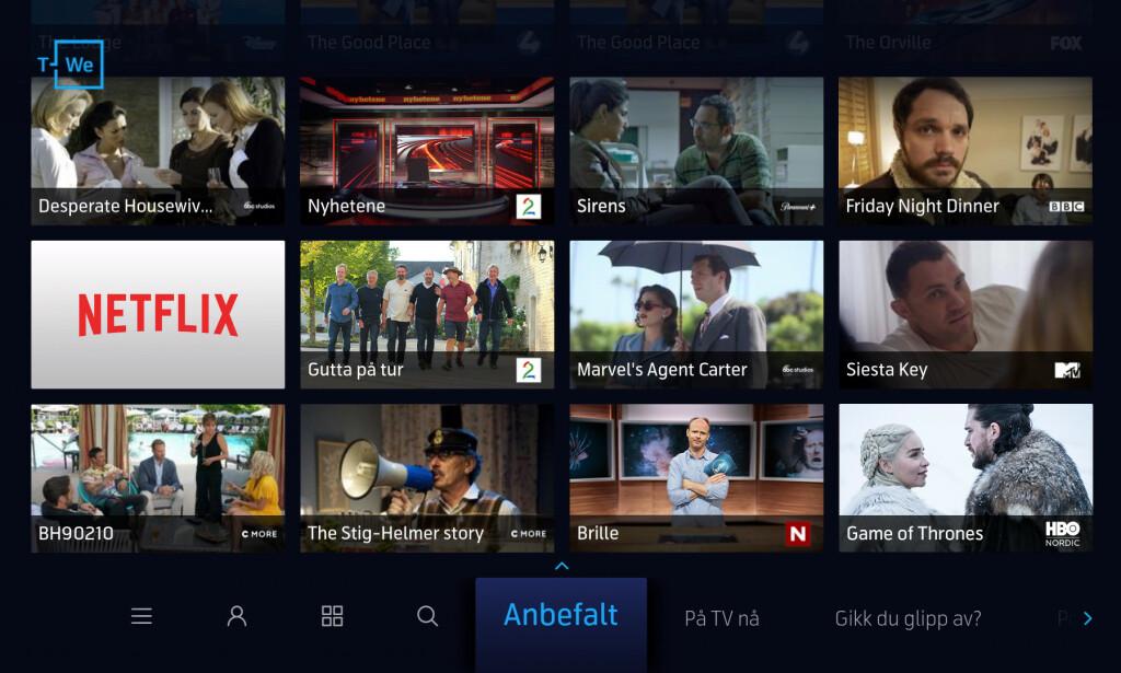 NYTT GRENSESNITT: Slik ser Telenors nye T-We-tjeneste ut. Foto: Telenor