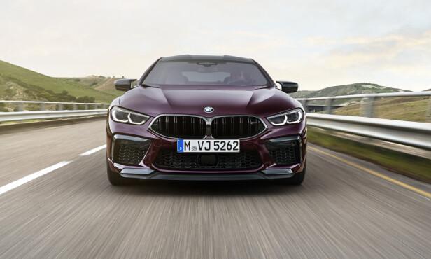 MINDRE BRAUTENDE: Passelig aggressiv, men slett ikke luksuriøst overdådig på den måten en 7-serie eller X7 kan virke - slik fremstår fronten til M8 Gran Coupe. Foto: BMW