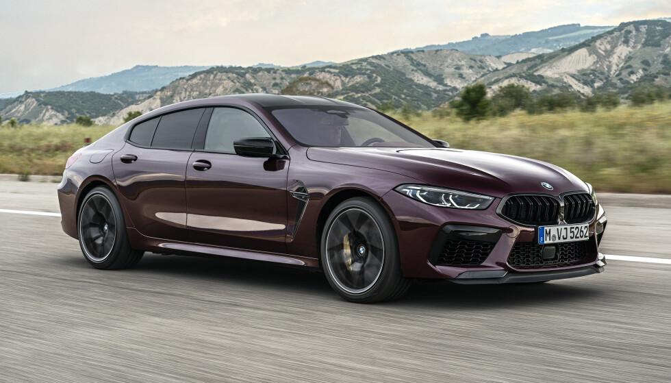STOR OG LUKSURIØS: I likhet med den limousin-lignende 7-serie er 8-serie Gran Coupe en svær bil på over fem meter i lengden (M8, som vi ser her, er 510 centimeter lang). Men linjene trekker tankene mot en sportsbil. Foto: BMW