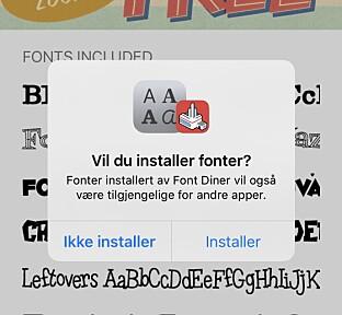 INSTALLER: Slik ser det ut når du skal installere fonter med Font Diner. Skjermbilde: Kirsti Østvang