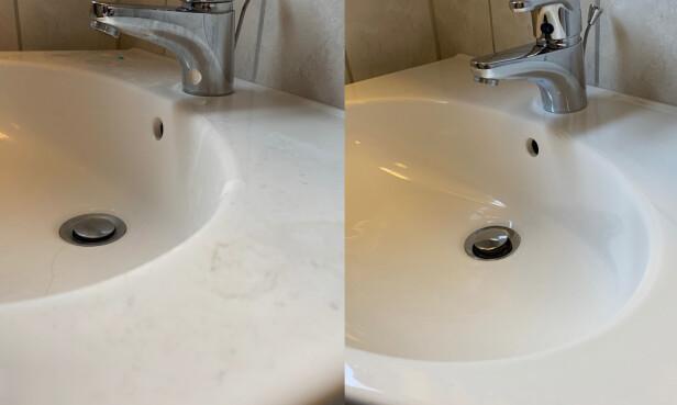 Før og etter vasking av kran. Foto: Berit B. Njarga