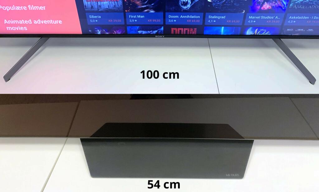 BRED OG SMAL: Du trenger et nesten dobbelt så bredt bord til Sony-TV-en som til LG-TV-en. Illustrasjon: Dinside