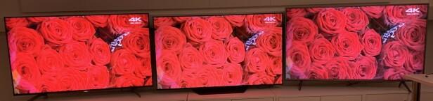 Dette ser du spesielt godt i scener med mye rødt, men også hvitt, grønt og gult. Sony-TV-en til venstre, LG i midten og Samsung til høyre. Foto: Bjørn Eirik Loftås