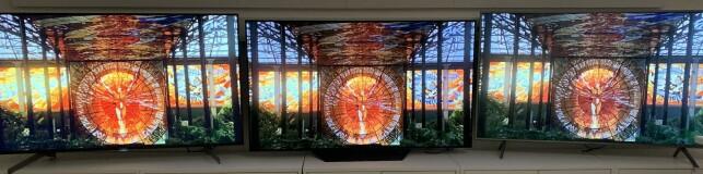 """Som eksemplene her viser, er det stor forskjell på fargemetningen på de tre TV-ene, med innstillingen """"standard""""."""