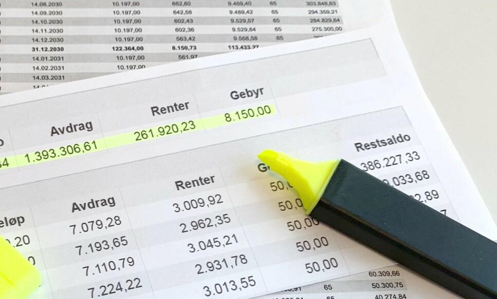 TOTALBILDET: I betalingsplanen for boliglånet ditt ser du summen av terminbeløp, avdrag, renter og gebyr. Hvis du korter ned løpetiden på lånet ved å betale høyere avdrag hver måned, vil den totale summen du betaler for lånet bli lavere. Foto: Eilin Lindvoll.
