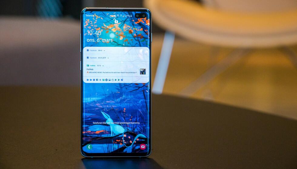 OOPS: Samsungs S10-modeller har en ultrasonisk fingeravtrykksleser som viser seg å ha store svakheter. Foto: Pål Joakim Pollen
