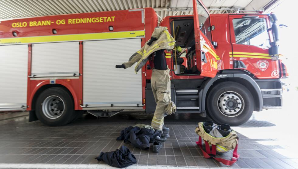 <strong>GÅR UNNA:</strong> Tall fra SSB viser at brannvesenet bruker opp til åtte minutter på å kjøre fra stasjonen til der de trengs, og at kjøretiden er relativt lik i alle landets kommuner. Foto: Gorm Kallestad/NTB Scanpix.