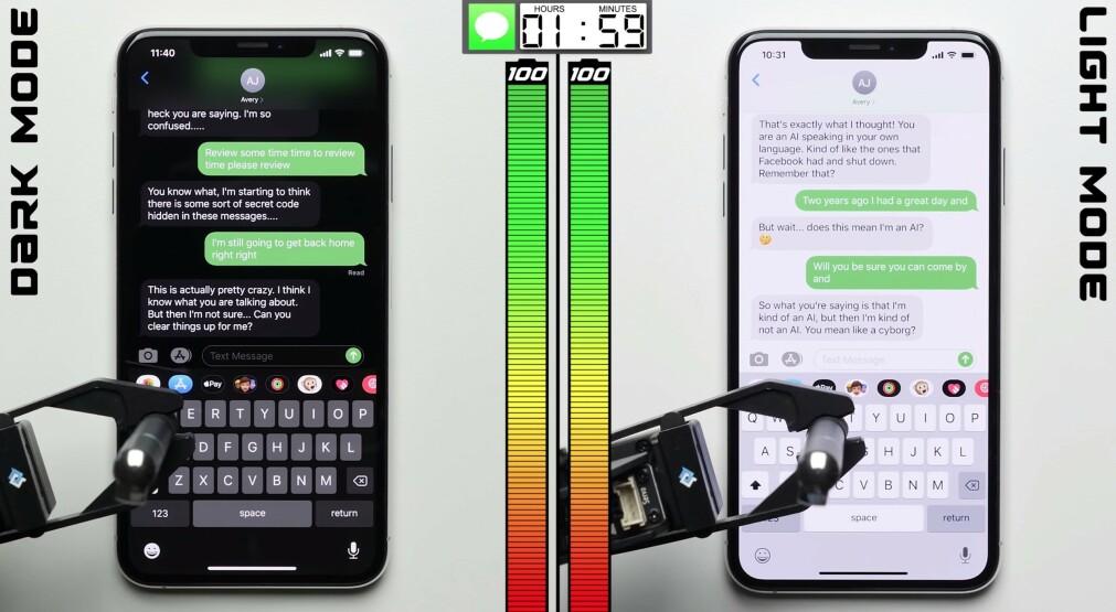 MØRK VS LYS: Youtuberen Phonebuffstyle har sjekket batteribruken på iPhone med mørk og lys modus. Foto: Phonebuffstyle/YouTube