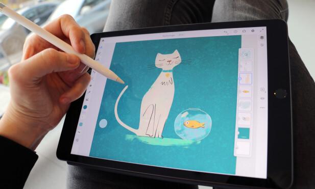 TOPP TEGNEBRETT: Apple Pencil er god å både skrive og tegne med, men den følger dessverre ikke med iPad-en. Du må kjøpe den ved siden av for en tusenlapp. Foto: Kirsti Østvang