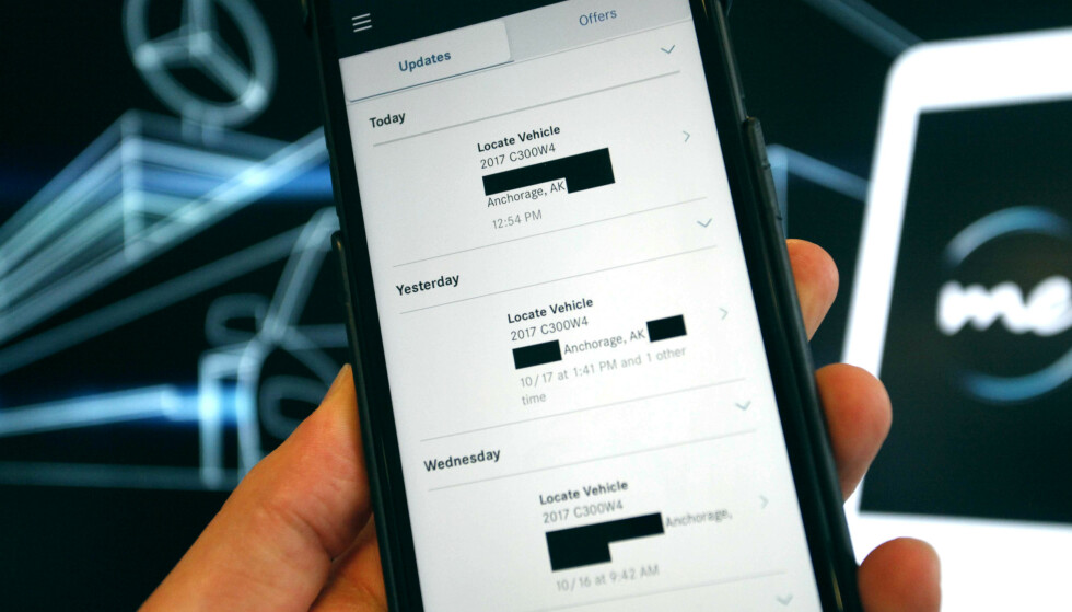 LEKKET PERSONLIG INFO: Den amerikanske versjonen av mobilapplikasjonen MercedesMe delte blant annet informasjon om hvor andre app-brukere hadde oppholdt seg. Norske brukere skal ikke ha blitt berørt, ifølge importøren. Foto: Øystein Fossum