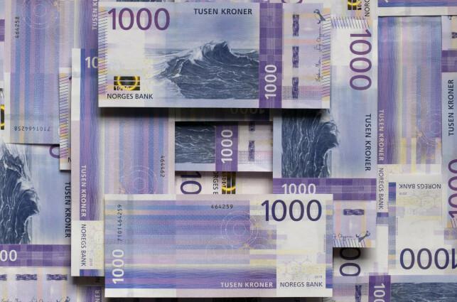 SLIK SER DEN UT: Forsiden øverst i bildet viser en bølge og en lundefugl. Baksiden, som du ser nederst i bildet, viser «åpent hav i horisonten». Foto: Foto: Nils S. Aasheim/Norges Bank