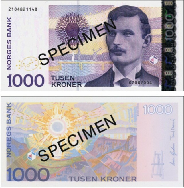 UTGÅR 14. NOVEMBER 2020: 13. november 2020 vil være siste dag å få bruke disse 1000-lappene, som har vært i sirkulasjon siden 2001. Foto: Norges Bank
