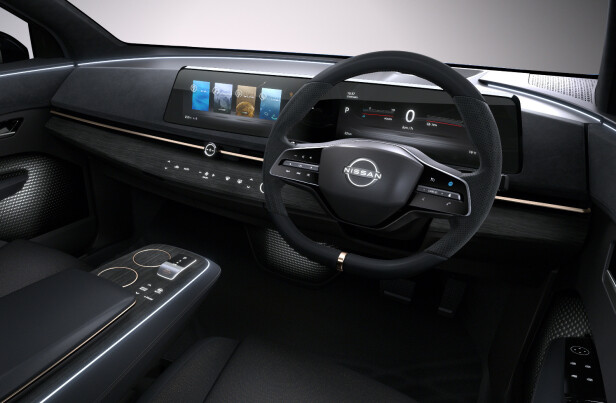 PRODUKSJONSKLAR: I hvert fall nesten. Interiøret i nye Nissan Ariya er, i likhet med eksteriøret, et eksempel på Nissans helt nye designretning. Foto: Nissan