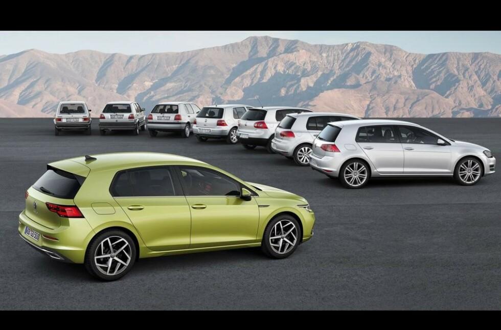7 + 1: Her ser vi samtlige Golf-generasjoner som er kommet på markedet de 45 siste årene. Som vi ser har designen bare utviklet seg gradvis og grunnfilosofien har hele tiden vært den samme. Foto: VW