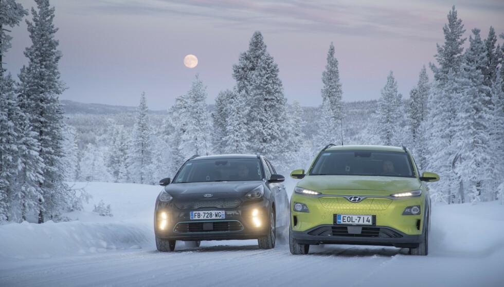 LAVEST FORBRUK: Kia og Hyundai hadde det klart laveste strømforbruket under kjøring i kulde. Foto: Markus Pentikainen