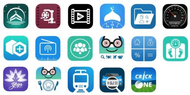 APPENE: Slik ser app-ikonene til de 17 aktuelle appene ut. Foto: Wandera