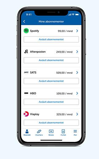 FULL KONTROLL: Ny nett- og mobilbanktjeneste gjør det lettere for deg å ha oversikt og si opp abonnementer direkte hvis du er kunde hos Sparebank 1. Foto: skjermdump.