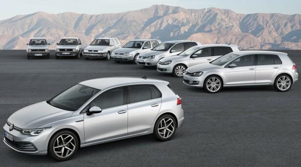 <strong>ÅTTE GENERASJONER:</strong> Volkswagen Golf sin åttende generasjon er nettopp vist. Og nok en gang har den vokst i størrelse. Foto: Volkswagen
