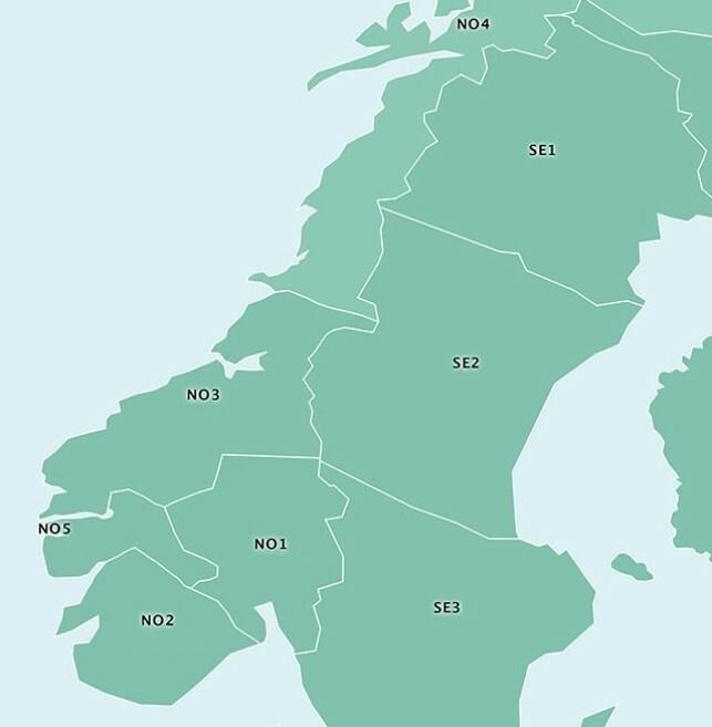 PRISOMRÅDENE: Her ser du inndelingen av Norge i prisområder for strøm. Område 4 strekker seg helt opp til Troms og Finnmark. Illustrasjon: Energifakta Norge.