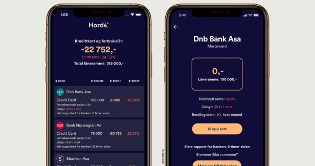 <strong>TILGJENGELIG:</strong> Horde-appen kan lastes ned via App Store og Google Play. Den gir deg oversikt over dine kredittkort og mulighet til å kvitte deg med kortene du ikke trenger. Foto: Horde.