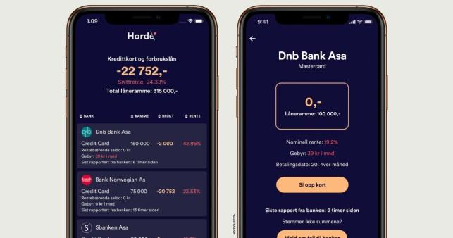 TILGJENGELIG: Horde-appen kan lastes ned via App Store og Google Play. Den gir deg oversikt over dine kredittkort og mulighet til å kvitte deg med kortene du ikke trenger. Foto: Horde.