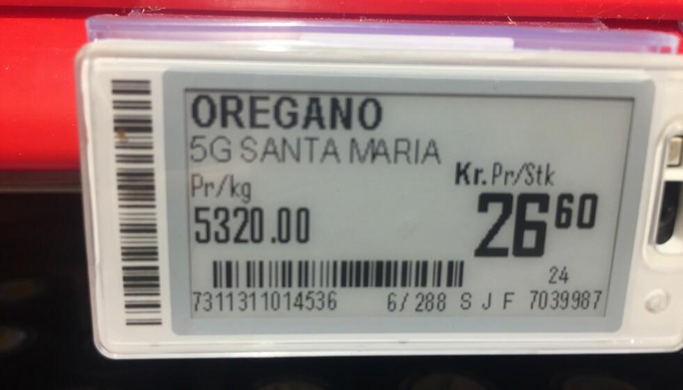 DYREST: Oregano fra Santa Maria har en kilospris på 5320 kroner hos Coop Extra. Foto: Lena-Christin Kalle
