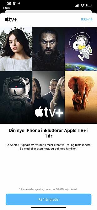 FRISTENDE TILBUD: Apple kan tilby ett år gratis Apple TV+ for de som har kjøpt seg et nytt Apple-produkt. Skjermbilde: Kirsti Østvang