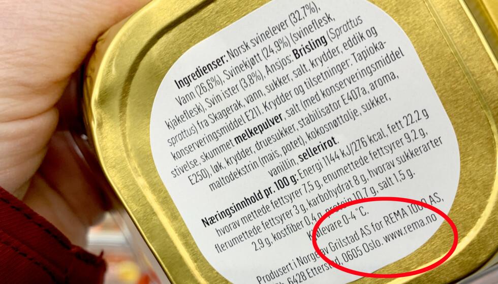 PRODUSENT: Du kan finne informasjon om hvem som har produsert EMV-varen på forpakningen. Denne Rema 1000-leverposteien er for eksempel produsert av Grilstad- Foto: Kristin Sørdal