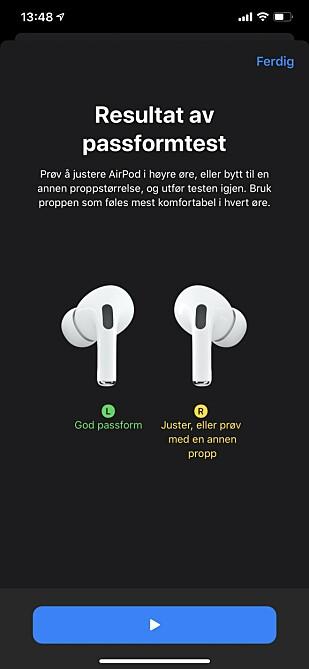 VELG RIKTIG STØRRELSE: For å få best mulig lyd på øreproppene, er det viktig at du velger riktige plugger. Apple hjelper deg med denne passformtesten. Skjermbilde: Kirsti Østvang