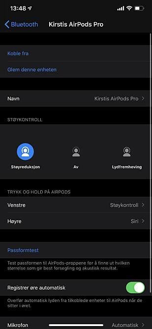 INNSTILLINGER: Det finnes ingen egen AirPods-app å tilpasse innstillinger fra, du må gå til Innstillinger > Bluetooth > øreproppene dine for å gjøre de mulige tilpasningene. Skjermbilde: Kirsti Østvang