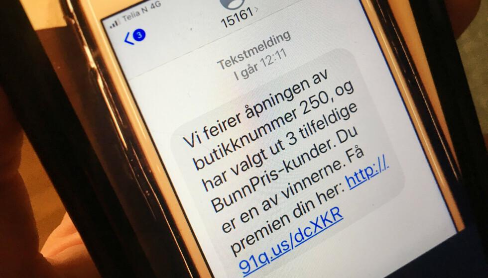 INGEN PREMIE: Bunnpris advarer mot denne SMS-en, som butikkjeden ikke har sendt ut. Foto: Berit B. Njarga