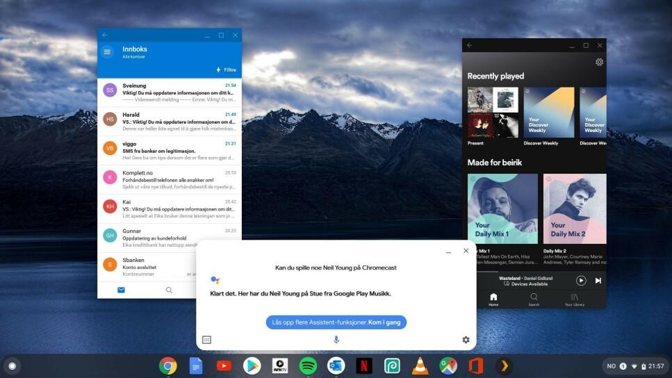 APPER I VINDUER: Her kjører vi mobil-appene Outlook og Spotify i vinduer på Chromebooken. Samtidig har vi muntlig bedt maskinen om å spille Neil Young på TV-en i stua. Skjermdump: Dinside