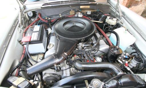 PASSE STERK: V8-en leverte beskjedne 200 hk og 0-100 km/t på 9.4 sekunder . Foto: Lord Arnstein Landsem