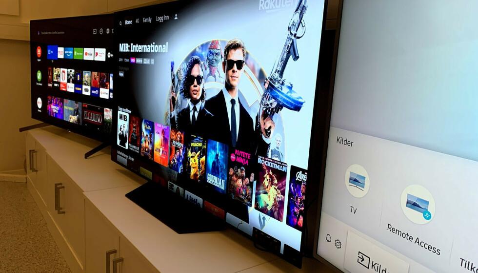 <strong>PRISFALL:</strong> Det er bare tre uker siden vi testet disse tre TV-ene. Én av dem har falt nesten 40 prosent i pris. Foto: Bjørn Eirik Loftås