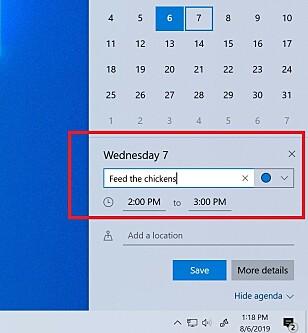 Nå kan du opprette kalenderavtaler direkte fra oppgavelinjen. Foto: Microsoft