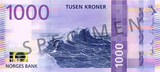 SEDDEL MED MENING: Hovedmotivet på 1000-kroneseddelen er en bølge på åpent hav. Bølgen forteller oss om havet som en motkraft vi bryner oss på, og om en drivkraft som bringer oss framover, skriver Norges Bank. Foto: Norges Bank.