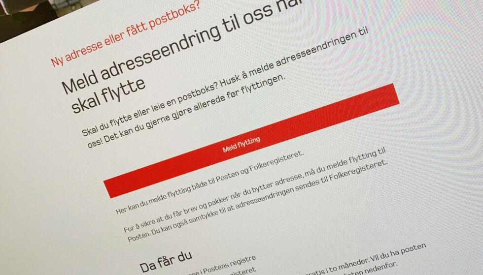 MELDE FLYTTING: Nå er det blitt endre å melde adresseendring. Den nye løsningen ligger på Postens nettsider. Foto: Berit B. Njarga