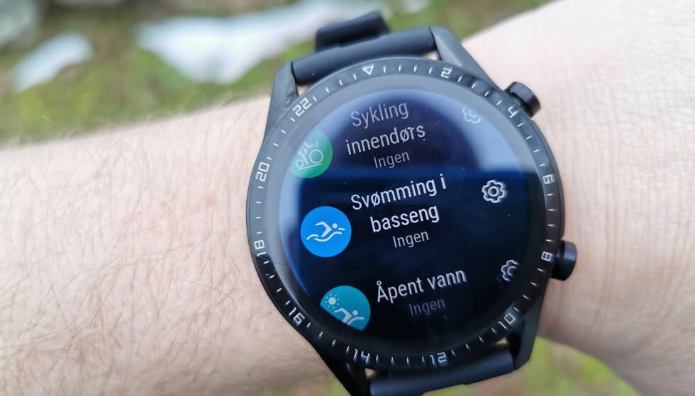 15 PROGRAMMER: Huawei Watch GT2 kan også svømmes med. Foto: Pål Joakim Pollen
