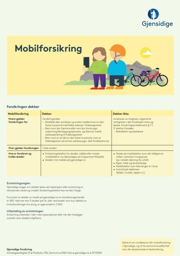FORSIKRINGSPLAKAT: Kunder med innboforsikring hos Gjensidige kan bygge ut med egen mobilforsikring, men sjekk vilkårene og egenandelen før du bestemmer deg. Foto: skjermdump.