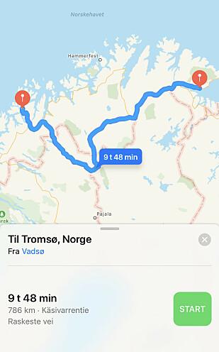 Raskeste vei til Nordea om du bor i Vadsø, er på 786 kilometer. Foto: Skjermdump