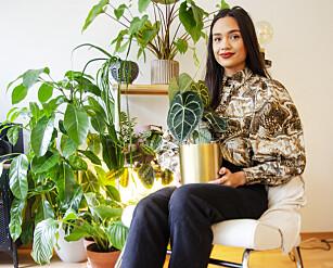 PLANTEDILLA: Aina Haukeland bruker flere timer hver dag på stell av plantene. Hjemme har hun over 35 planter. Foto: Runa Leinan
