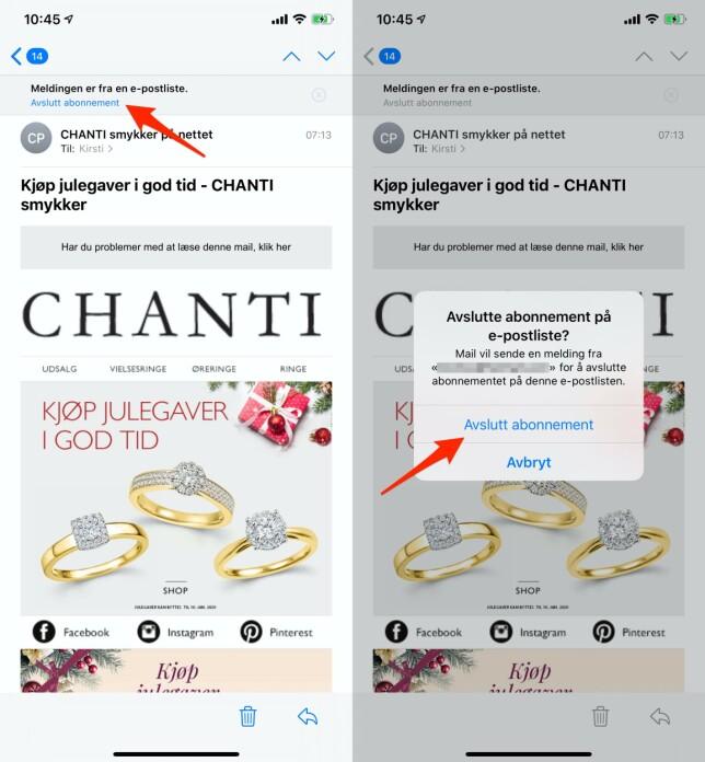 APPLE MAIL: I noen nyhetsbrev kan du melde deg av rett i e-postmeldingen. Skjermbilde: Kirsti Østvang