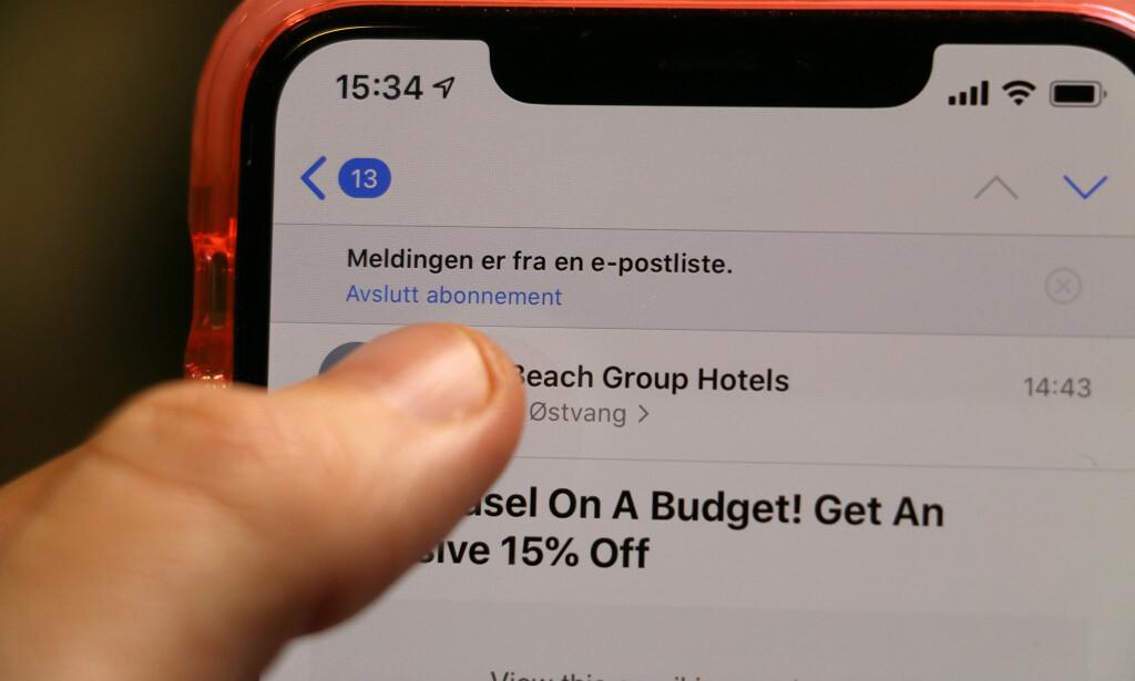 STOPP MASET: Du kan enkelt melde deg av nyhetsbrev rett i epostappen din. Foto: Kirsti Østvang