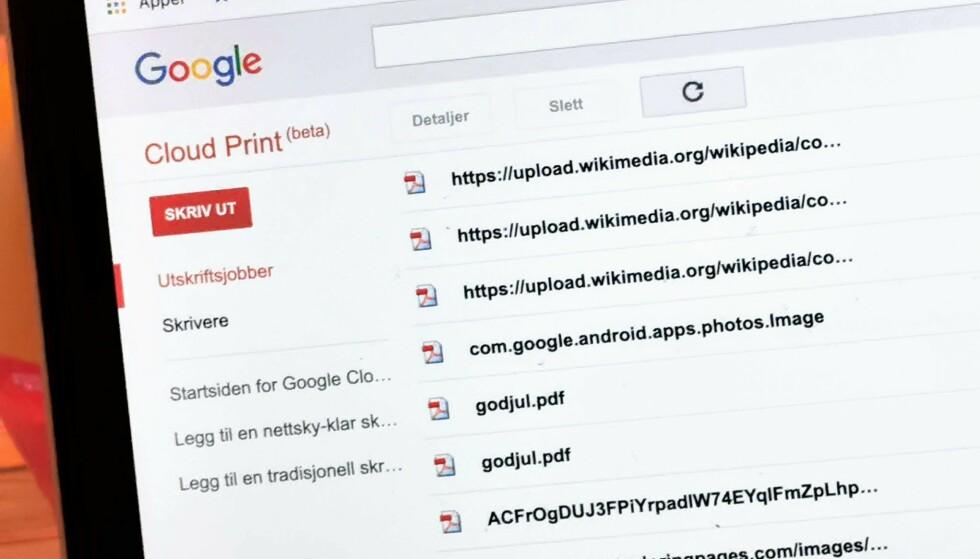 MOT SLUTTEN: Om et drøyt år avvikler Google sin Cloud Print-tjeneste. Foto: Pål Joakim Pollen