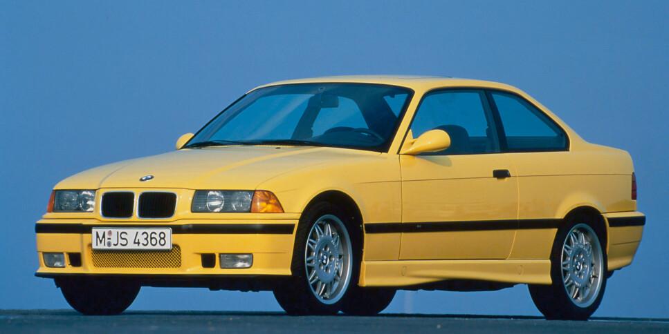 UNGDOMMENS FAVORITT: BMW E36 3-serie fra 1990 er meget populær som ungdomsbil. Gode kjøreegenskaper og bakhjulsdrift blir ikke feil. Her ser du den råeste utgaven, en E36 M3. Disse har blitt dyre, men heldigvis finnes det mange spreke motoralternativer for relativt lite penger. Foto: BMW Press