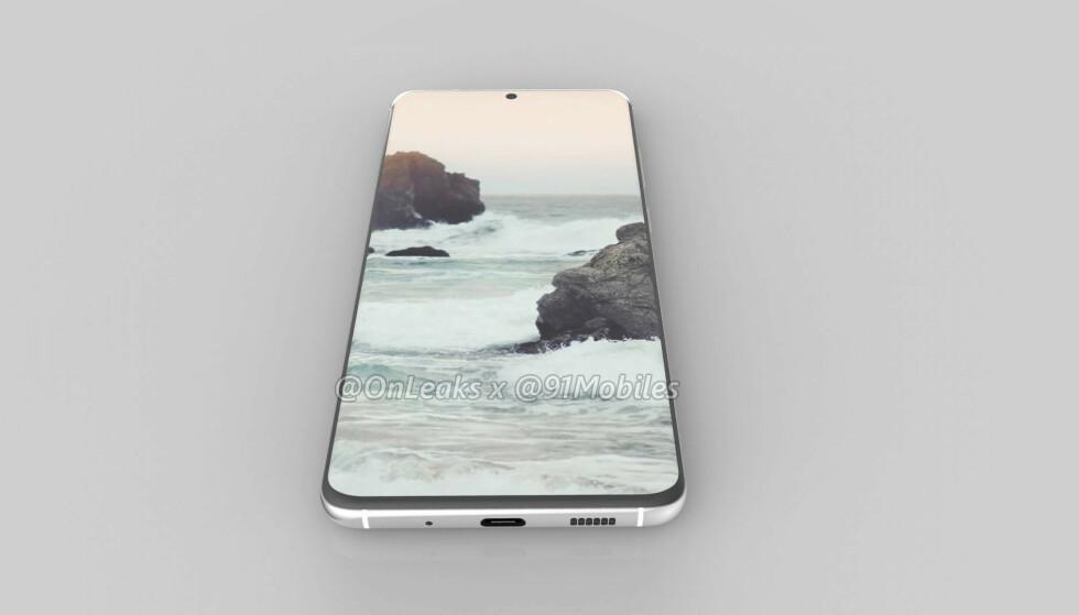 Slik vil sannsynligvis Samsung Galaxy S11 se ut, ifølge Twitter-brukeren OnLeaks, som har truffet blink på mang en spådom tidligere. Dersom denne 3D-modellen stemmer, vil S11-telefonene være Samsungs første S-telefoner uten lydutgang. Foto: OnLeaks/91Mobiles