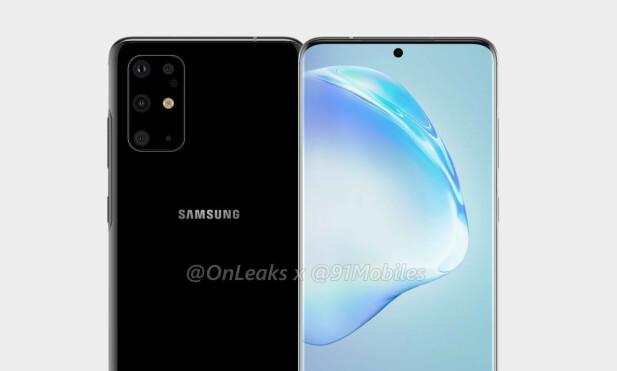 FEM KAMERAER: Slik skal angivelig kameramodulen på Samsung Galaxy S11 bli, med tre kameraer med ulik brennvidde, et TOF-kamera, en blits og enda et kamera hvis funksjon er ukjent. Foto: OnLeaks/91Mobiles