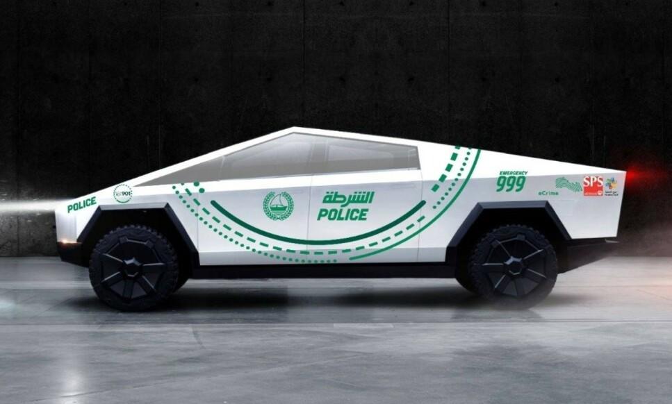 CYBER-POLITI-TRUCK: Det er politiet i Dubai som selv har laget et bilde av en uniformert Cybertruck, som de har lagt ut på sin Twitter-konto. Foto: Dubai Police
